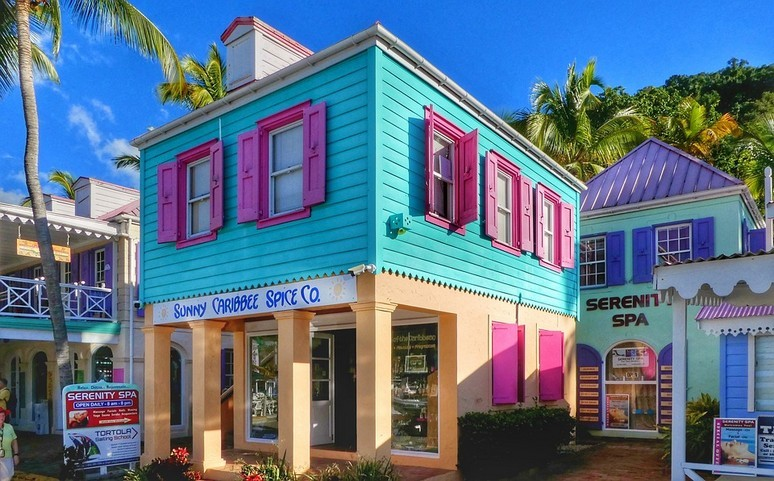 An astonishingly colourful building in Tortola