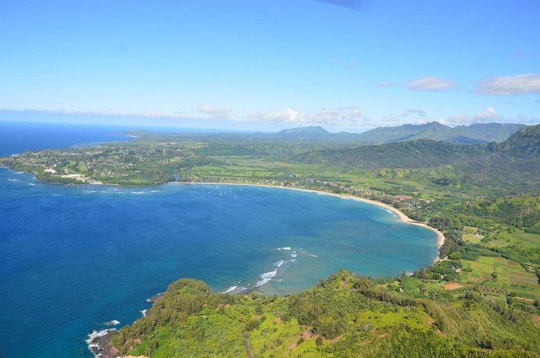 Hanalei Bay beach on Kauai