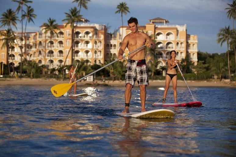 Happy Guest Paddle Board at St Peter's Bay Resort in Barbados