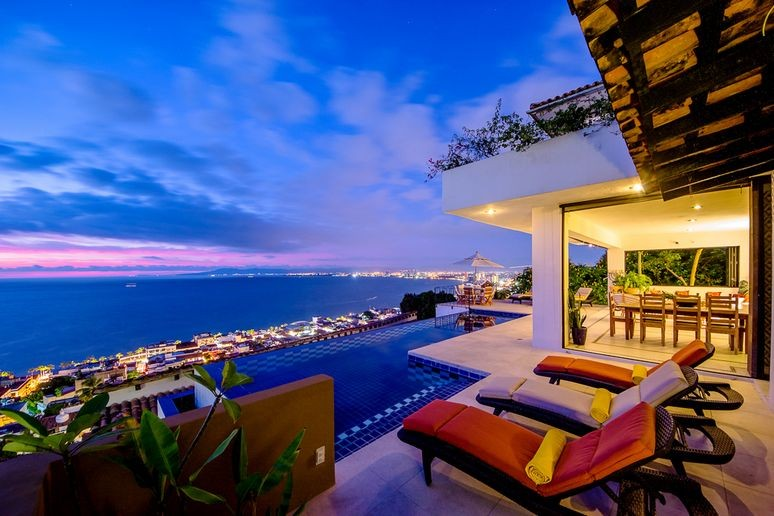 The view from the pool of puerto vallarta from punta del cielo in the evening.  Pretty