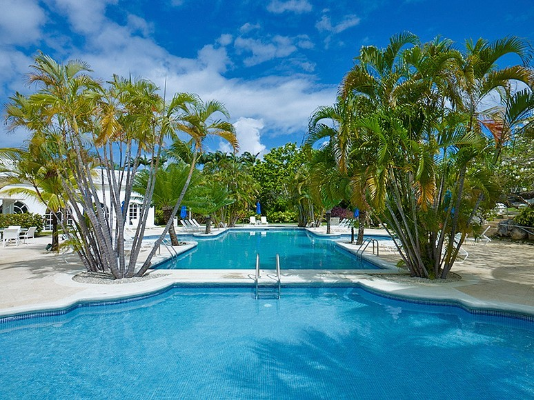 Two large pools, palm trees and villa at Westmoreland