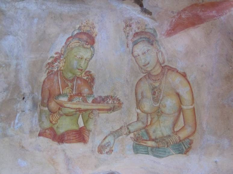 Ancient Frescoes at Sigiriya Rock in Sri Lanka