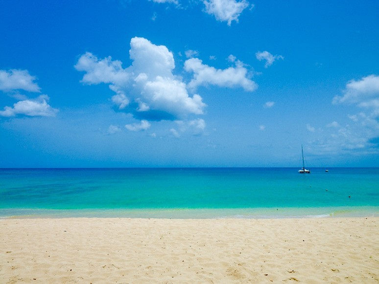 View of the startlingly blue Caribbean Sea and a lone catamaran from the the golden sandy shore of Paynes Bay Beach