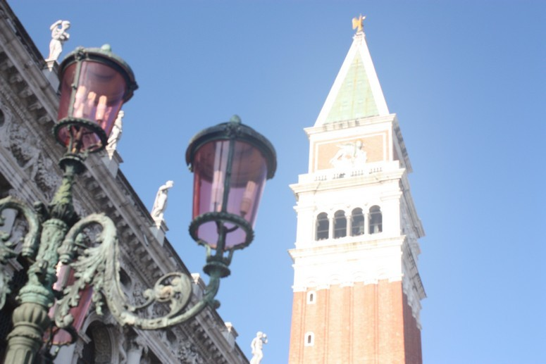 The Famous Campanile Bell Tower in the Center of Venice, Italy