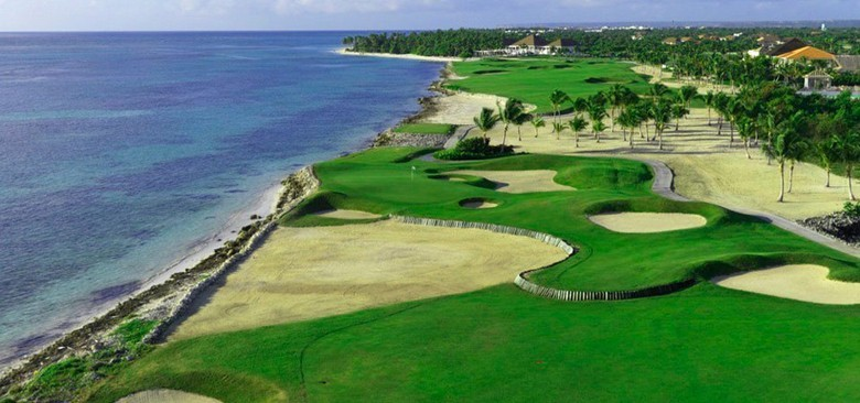 Aerial view of La Cana golf course at Punta Cana in the Dominican Republic
