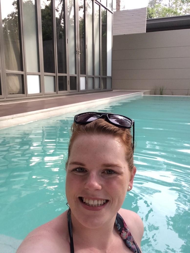 Linda tests the pool at the One bedroom Sala Pool Suite