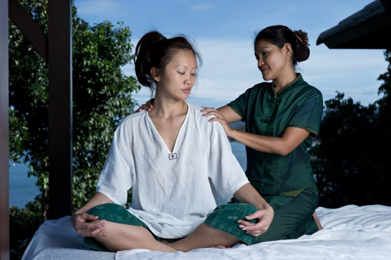 A guest receives a massage at the Kanda Wellness Center