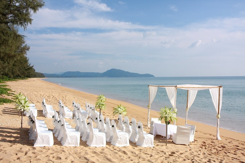 Wedding reception area on the beach at SALA Phuket