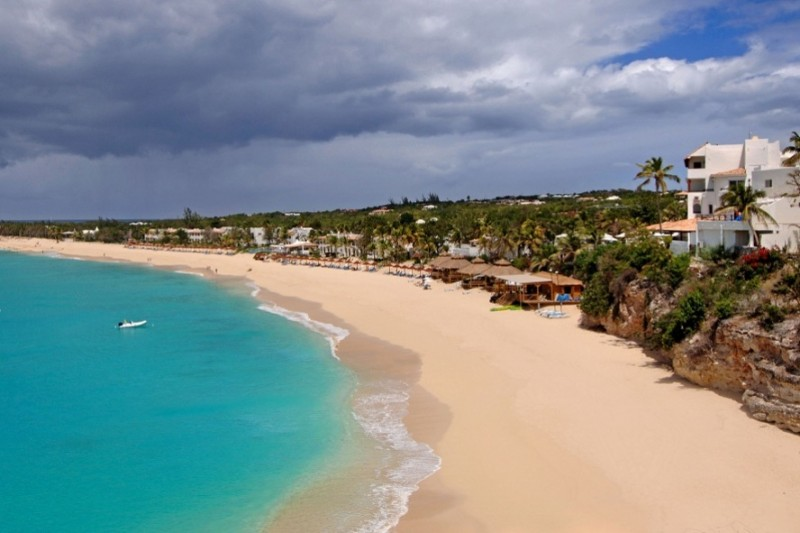 Baie Longue Beach in St Martin.  This busy beach isn't as serene or as private as some of the others but has more going on and is more fun