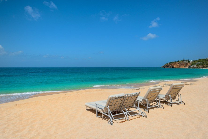 St Martin Beaches - Endless Blue Horizon Viewed from Sun Loungers
