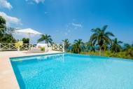 The infinity pool at Allamanda overlooks tropical palm trees and the Caribeban Sea