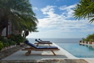 Sunloungers and pool at Hummingbird Villa in Mustique