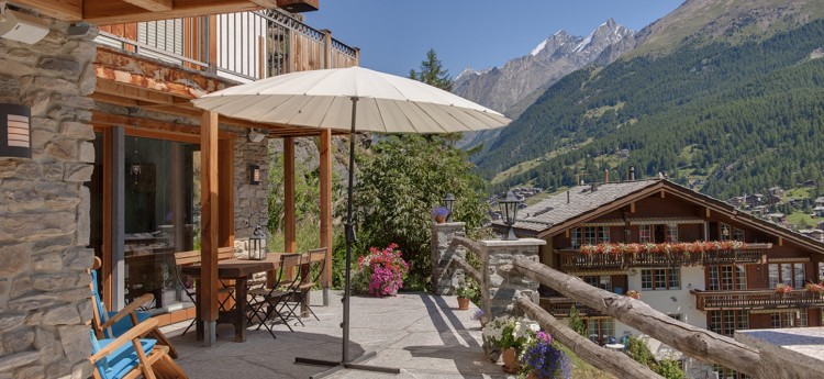 Chalet Ibron Zermatt  - View from terrace in Summer