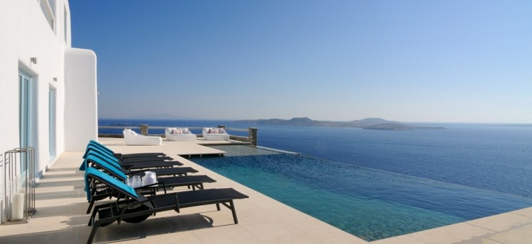 Pool area at Timon, Mykonos