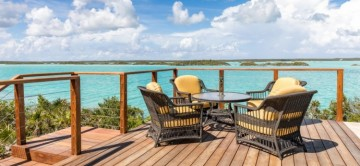 Wooden Sundeck and seating area at Alainn Villa overlooking the sea and distant islands