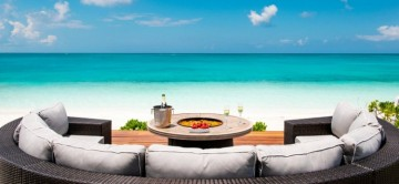 Stunning view of grace bay beach front the outdoor seating a