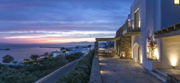 Stunning town and sea views from terrace at Themis