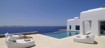 The stunning sea views from the terrace at Villa Philippos,