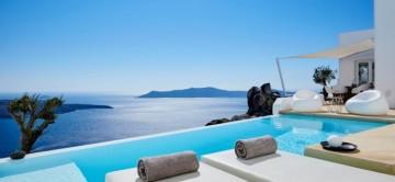 The terrace at Apollo Villa with amazing sea views