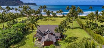 Red House in Hanalei & the beautiful manicured lawns, tropic